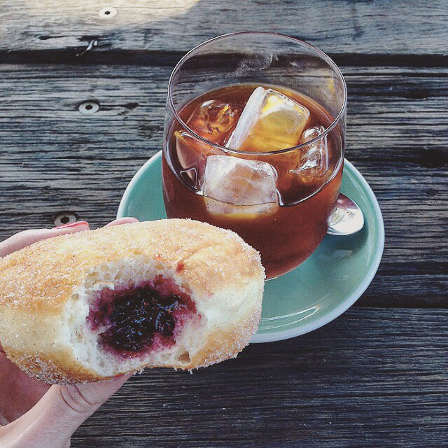A jam donut and cold pressed coffee is the ultimatehellip