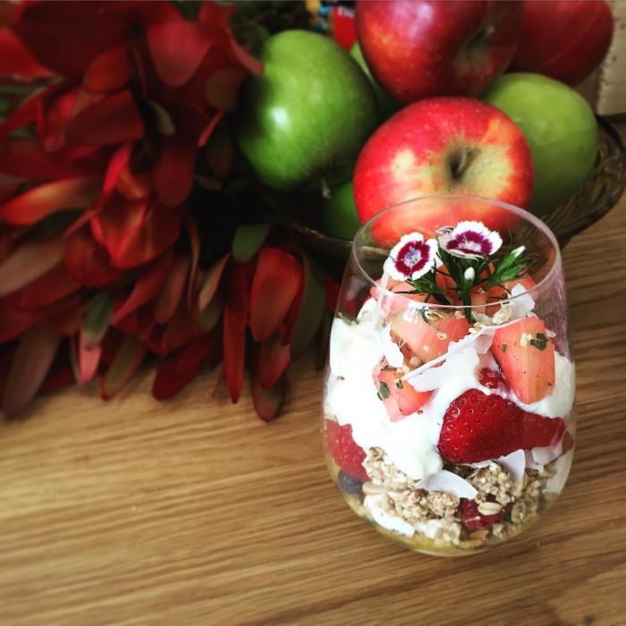 My delicious little breakfast parfait creation featuring breakfasttoppers  yoghurthellip
