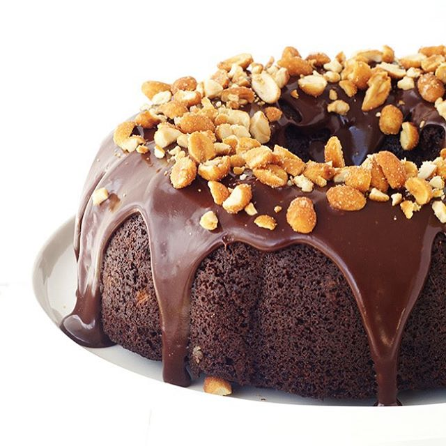 The most incredible Chocolate Peanut Butter Bundt cake is uphellip