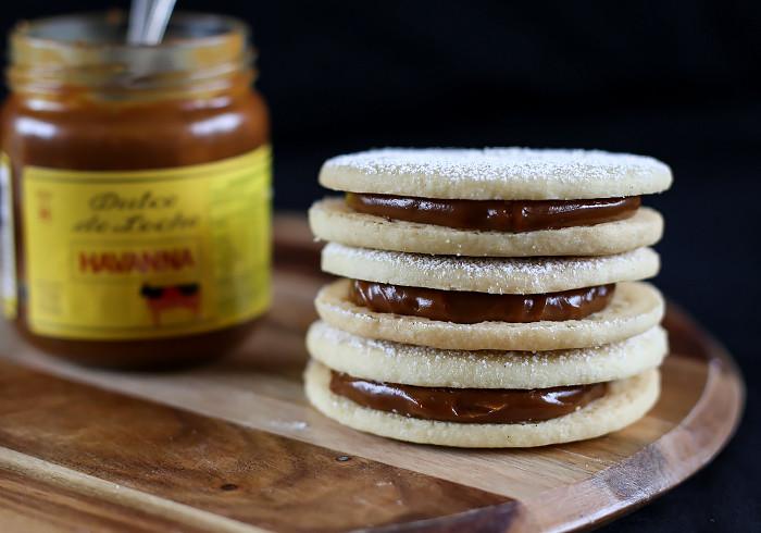 Alfajores AKA Dulce de Leche Cookie Sandwiches - Love Swah