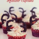 Candy Cane Reindeer Cupcakes