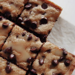Choc Chip Blondies with a Salted Caramel Drizzle
