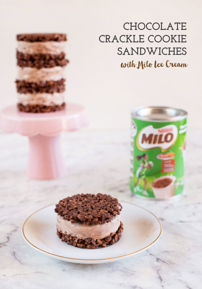 Chocolate Crackle Cookie Sandwiches with Milo Ice Cream