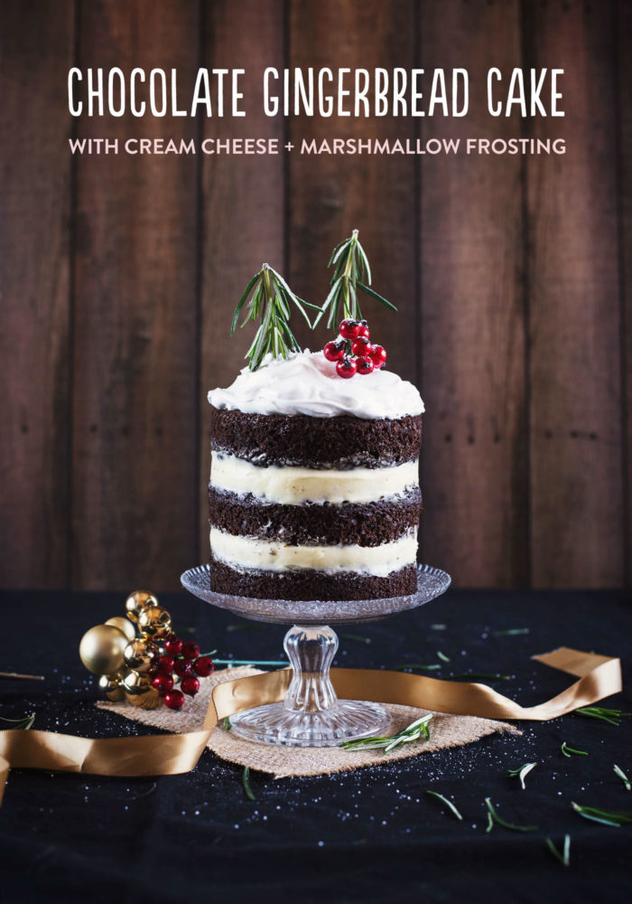Christmas Chocolate Gingerbread Cake with Cream Cheese and Marshmallow Frosting