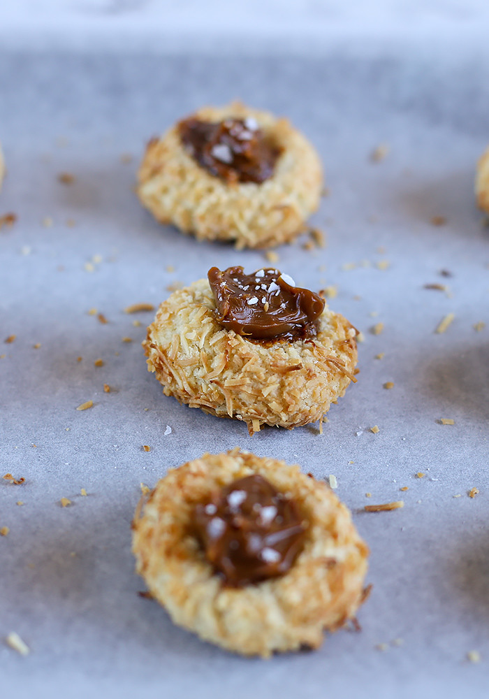 Coconut Thumbprint Cookies with Dulce de Leche - Love Swah