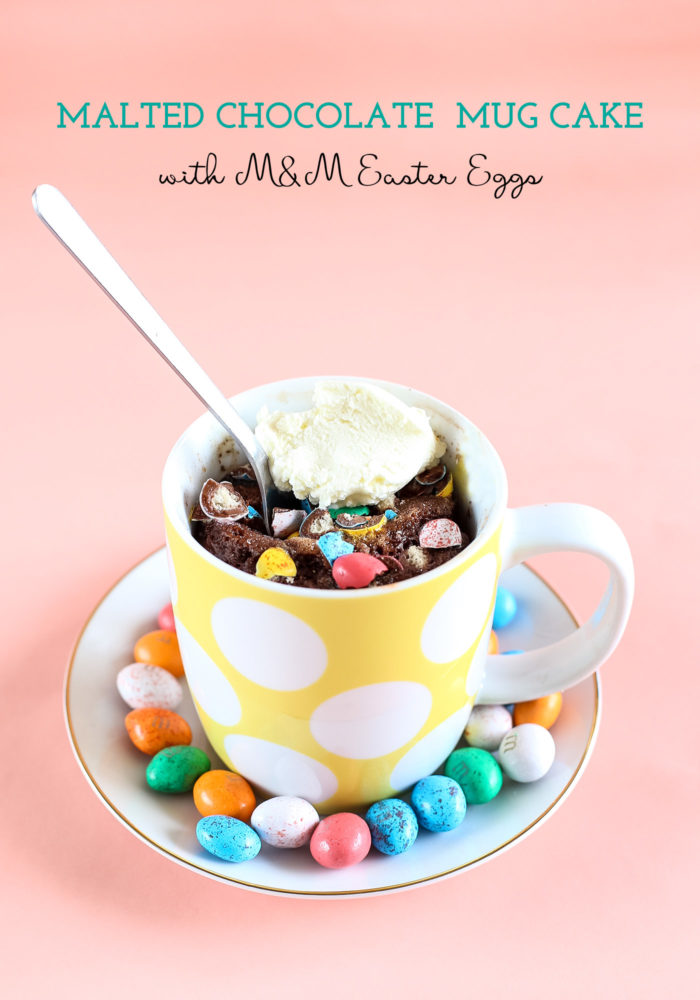 Malted Chocolate Mug Cake with M&M Easter Eggs