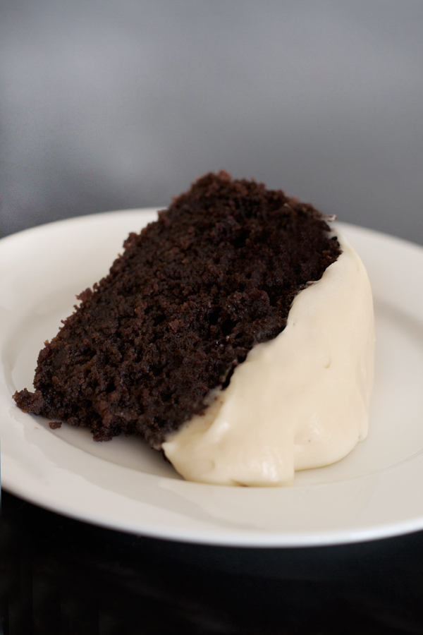 Dark Chocolate Guinness Cake with Baileys Irish Cream Cheese Icing