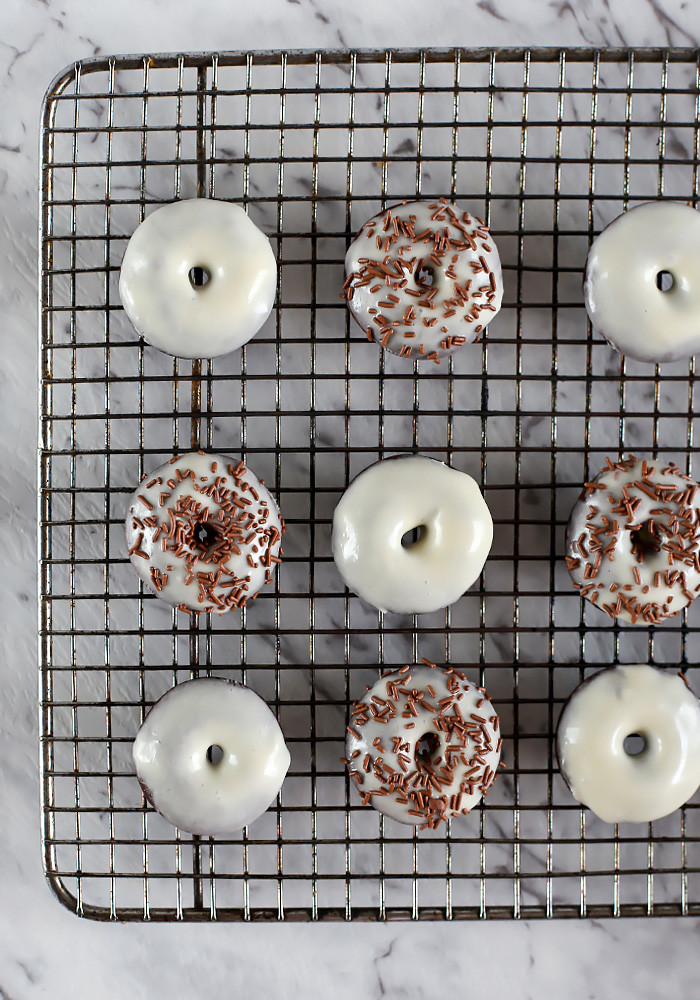 Dark Chocolate Guinness Donuts with Baileys Glaze