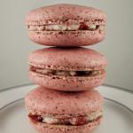 Hazelnut macarons with strawberry and white chocolate ganache