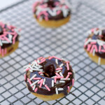 Mini Baked Donuts with Dark Chocolate Ganache