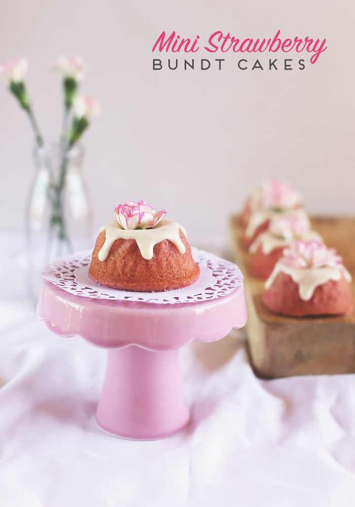 Mini Strawberry Bundt Cakes for Mothers Day