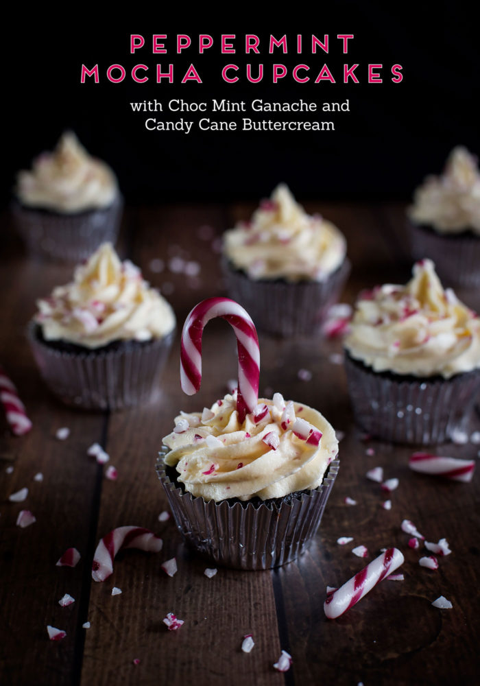 Peppermint Mocha Cupcakes with Choc Mint Ganache and Candy Cane Buttercream