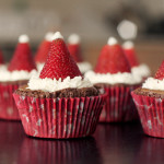 Brownie Cupcakes with Strawberry Santa Hats