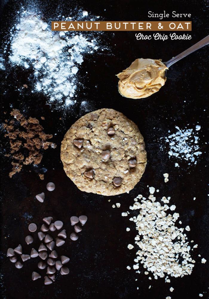 Single-serve Peanut Butter Oat Chop Chip Cookie
