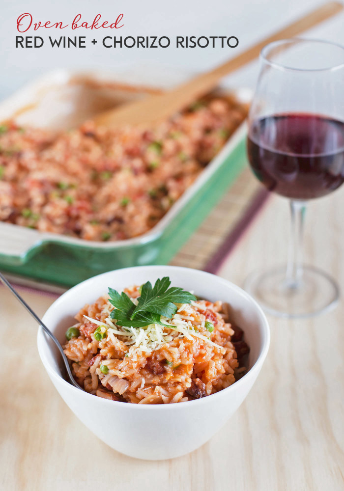 Oven Baked Red Wine and Chorizo Risotto