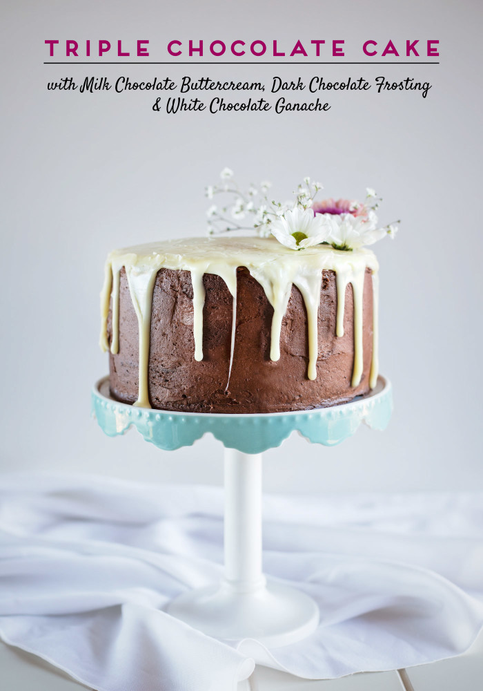 Triple Chocolate Cake with Milk Chocolate Buttercream, Dark Chocolate Frosting & White Chocolate Ganache