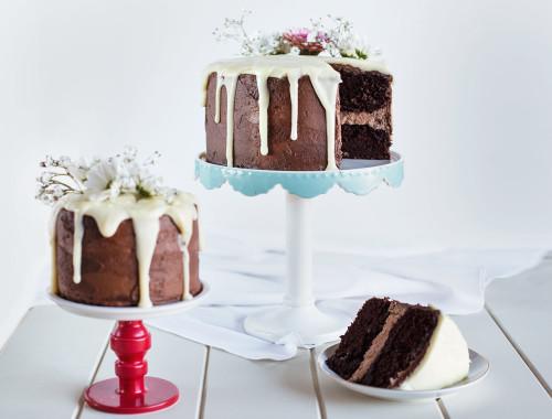 Triple Chocolate Cake with Milk Chocolate Buttercream, Dark Chocolate Frosting  & White Chocolate Ganache