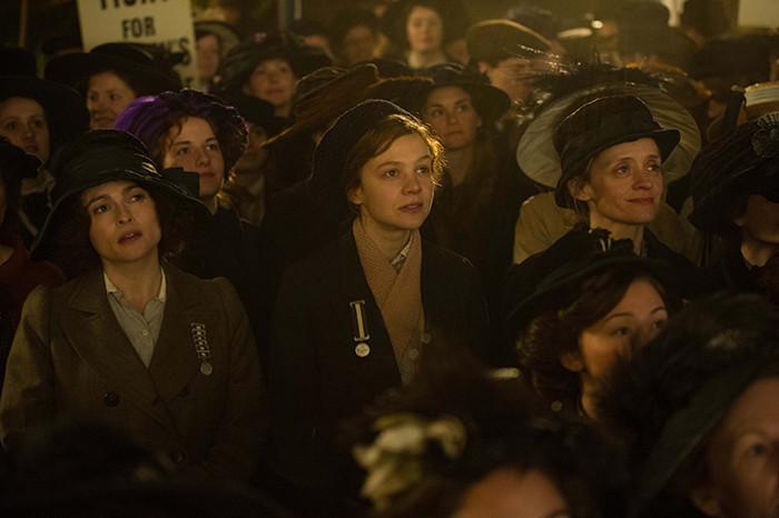 Helena-Bonham-Carter-as-Edith-Ellyn,-Carey-Mulligan-as-Maud-Watts-and-Anne-Marie-Duff-as-Violet-Miller
