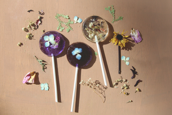 Pressed-and-dried-flower-lollipops