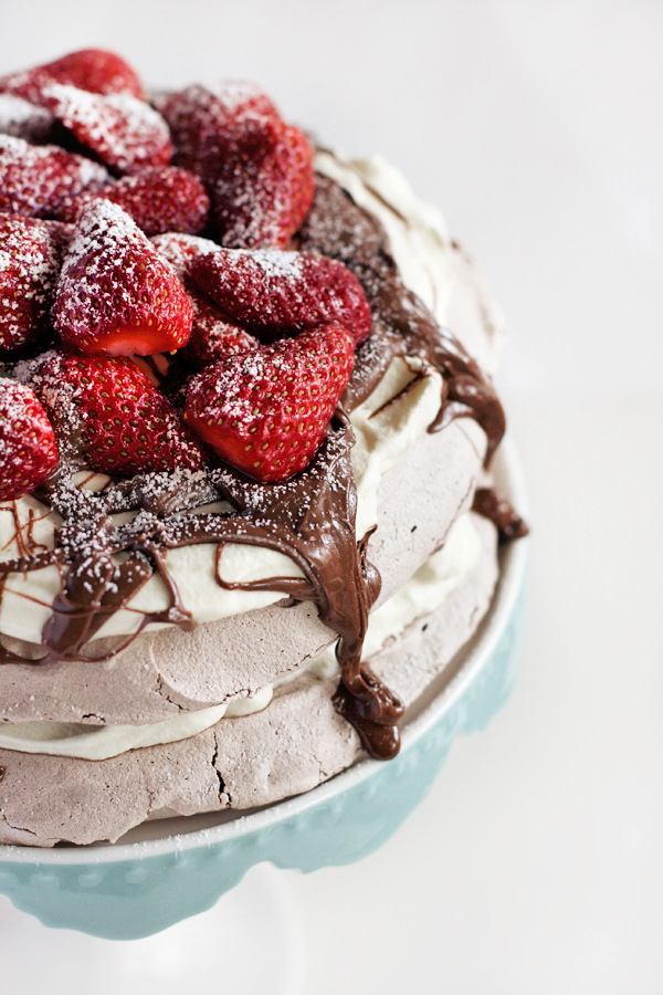 Chocolate Pavlova with Nutella and Strawberries