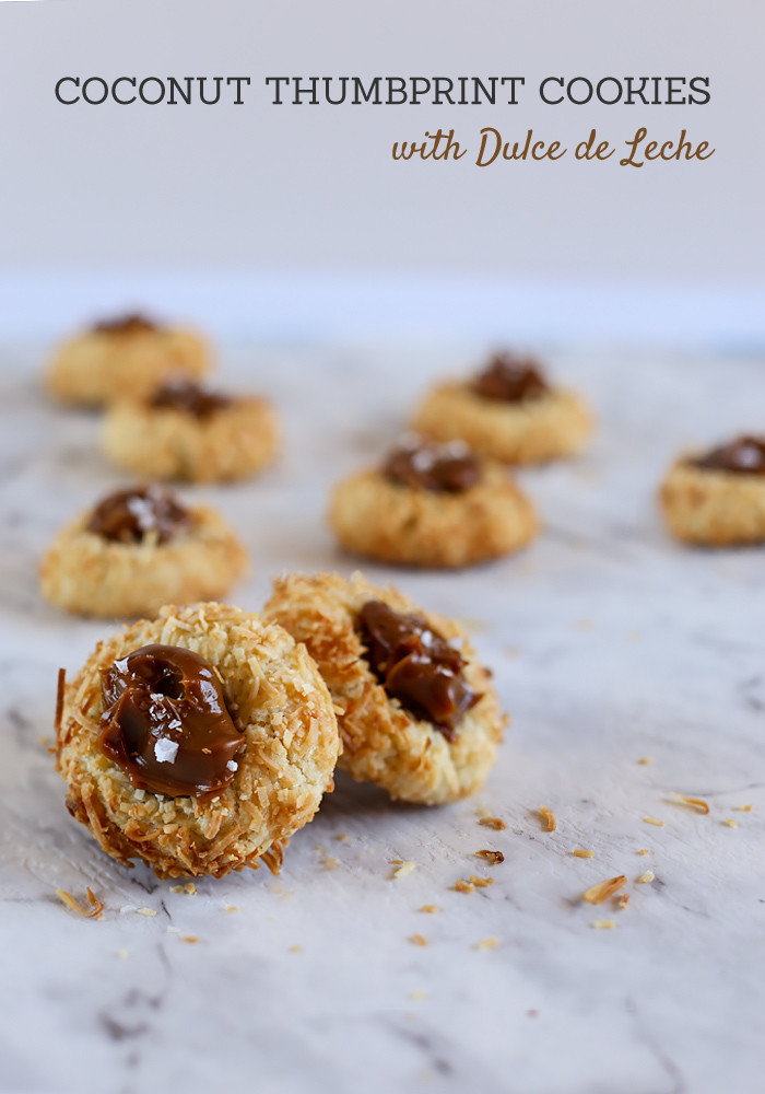 Coconut Thumbprint Cookies with Dulce de Leche