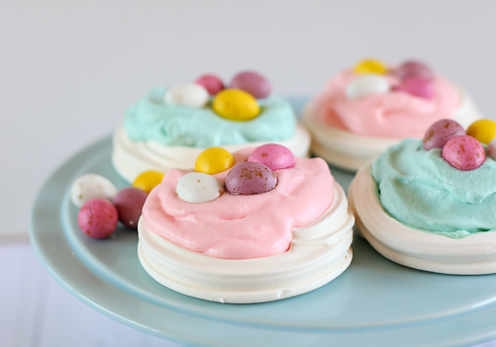 Easter Egg Meringue Nests with Pastel Whipped Cream
