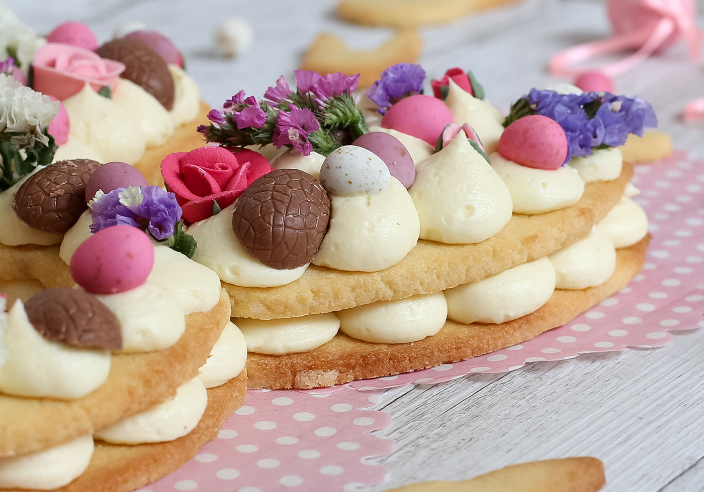 Close up photo of Easter Bunny Cream Tart