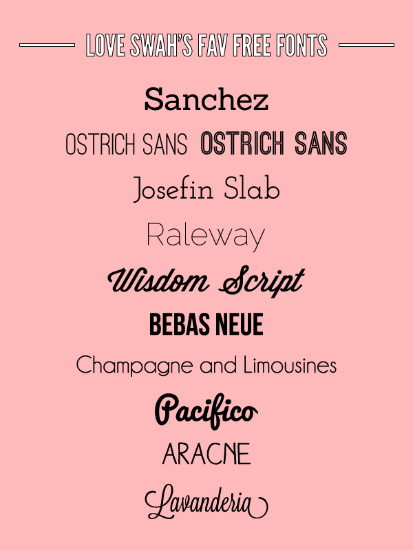 My Favourite Free Fonts - Love Swah