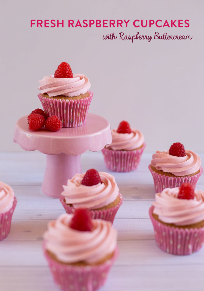Fresh Raspberry Cupcakes with Raspberry Buttercream
