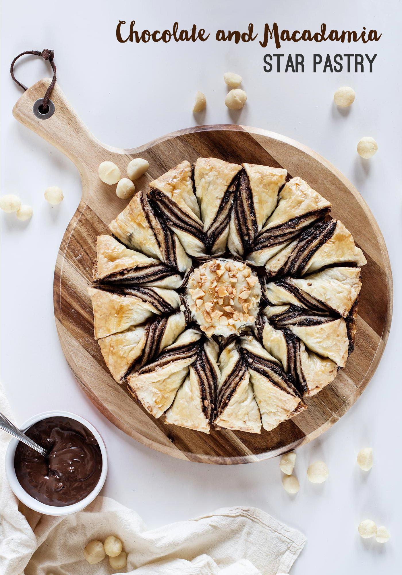 Chocolate and Macadamia Star Pastry