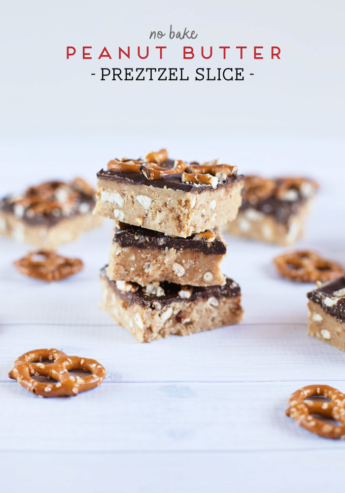 No Bake Peanut Butter Pretzel Slice