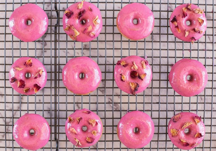 Raspberry and Rosewater donuts