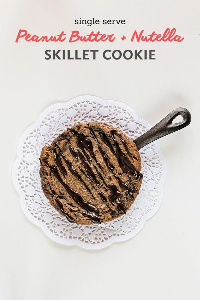 single-serve-peanut-butter-nutella-skillet-cookie