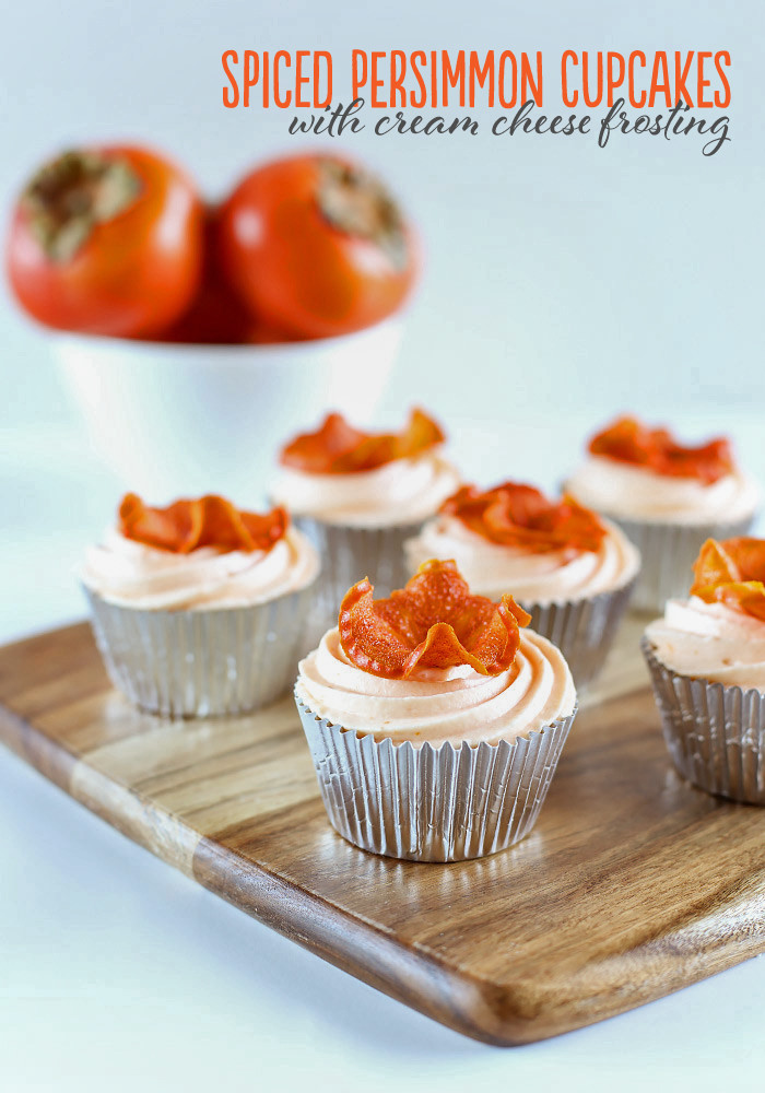 Spiced Persimmon Cupcakes with Cream Cheese Frosting