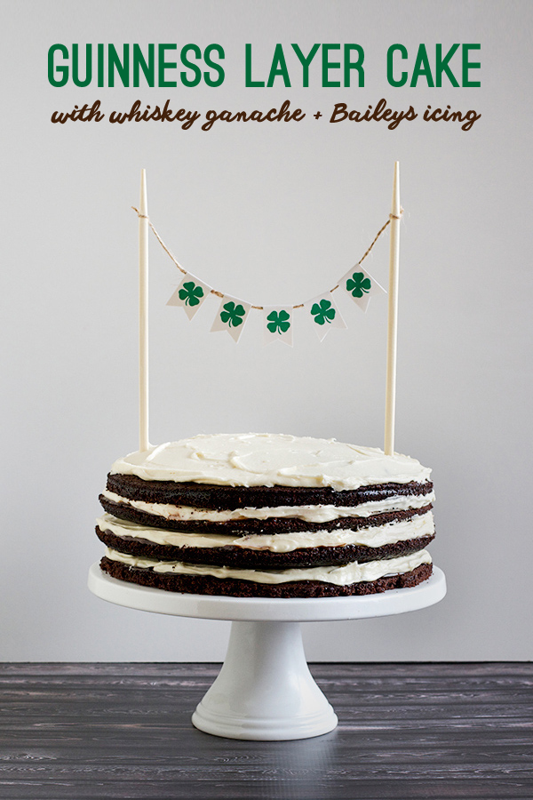 St Patrick's Guinness Layer Cake with Whiskey Ganache and Baileys Icing