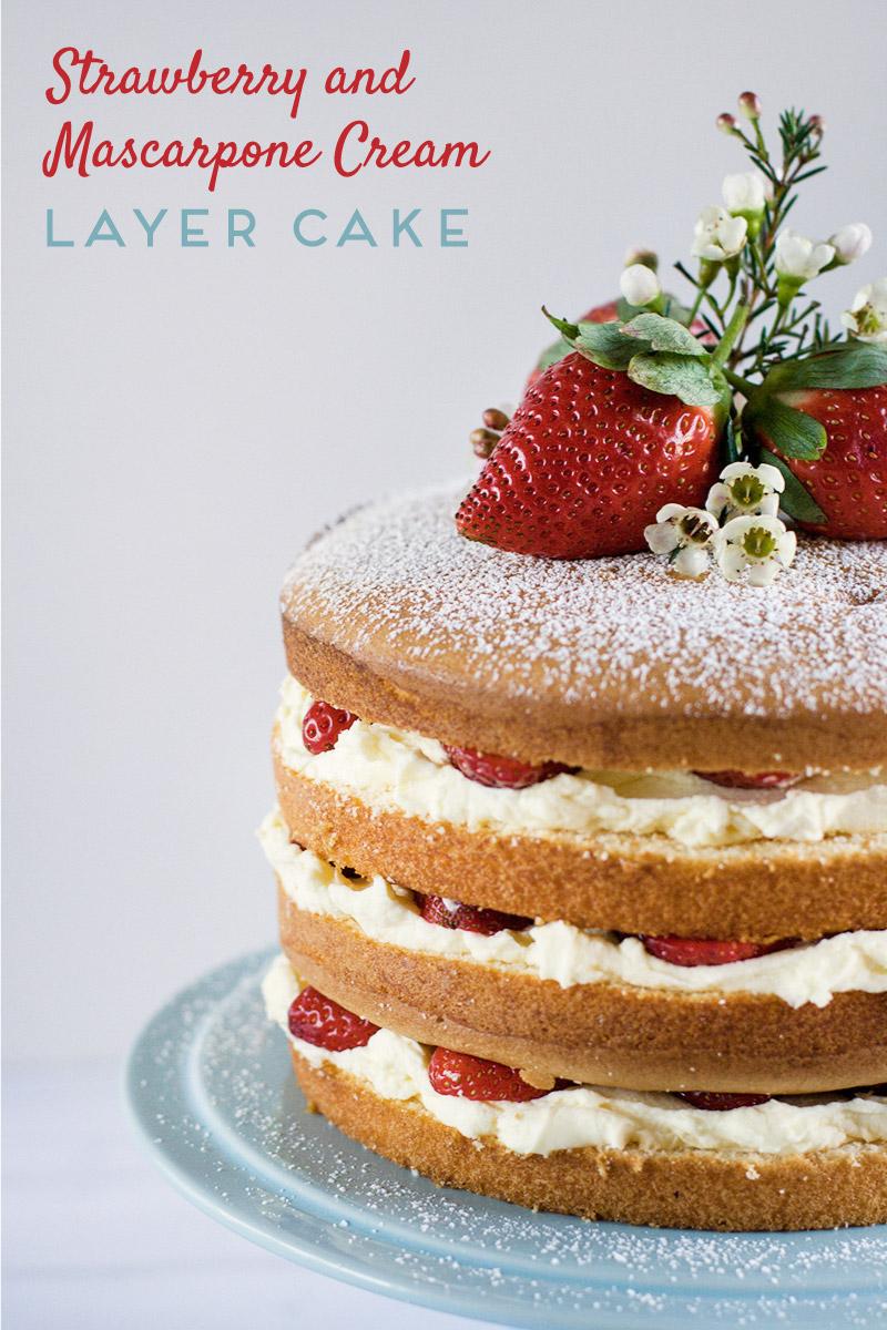 Strawberry Mascarpone Cream Layer Cake